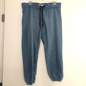 Current Elliott Denim Chambray Crop Jogger Pants